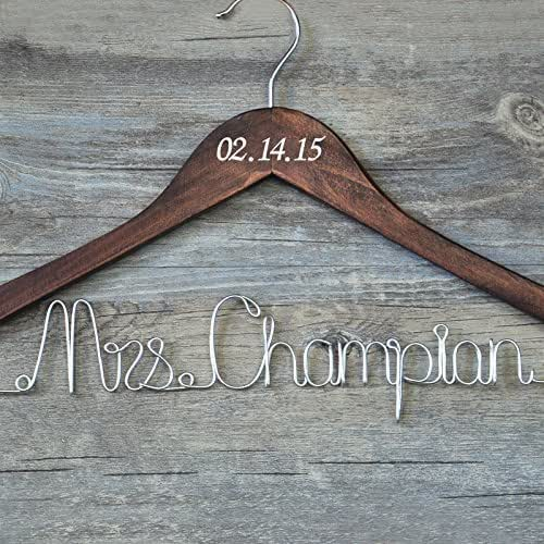 Custom wedding hanger with date personalized for Wedding dress hanger amazon