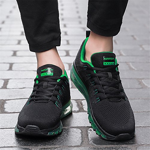 Zaone Herren Damen Sportschuhe Laufschuhe Leicht Outdoor & Indoor Fitness Running Schuhe mit Luftpolstersohle Grün