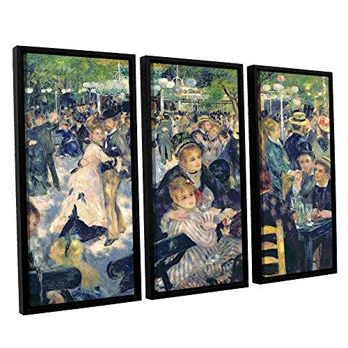 ArtWall 3 Piece Pierre Renoir's Ball at The Moulin De La Galette Floater Framed Canvas Set, 36 x 54 (Renoir Ball At The Moulin De La Galette)