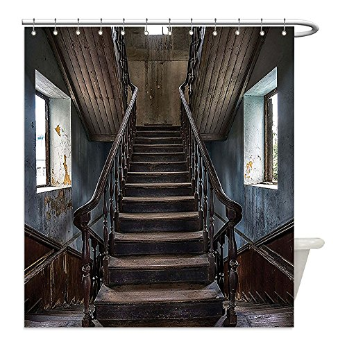Liguo88 Custom Waterproof Bathroom Shower Curtain Polyester Scary Decor Horror Movie Classic Deserted Abandoned Home with Old Vintage Stairs Artwork Multicolor Decorative bathroom