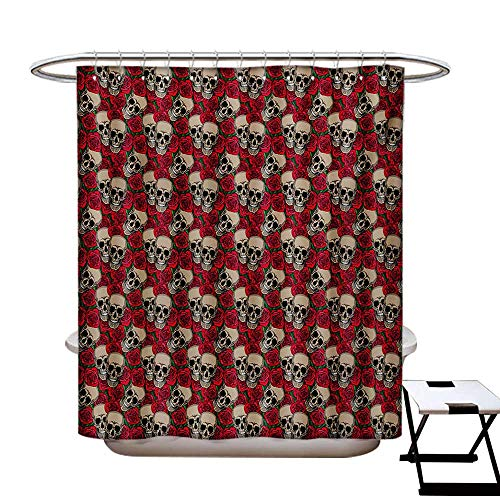 BlountDecor Rose Shower Curtain Customized Graphic Skulls and Red Rose Blossoms Halloween Inspired Retro Gothic Pattern Bathroom Accessories W72 x L84 Vermilion Tan Green]()