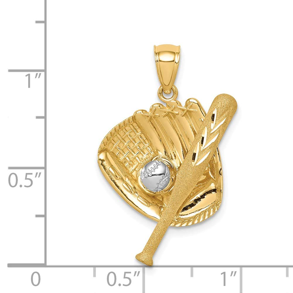 14K D//C White Rhodium Baseball Bat Glove Ball Pendant