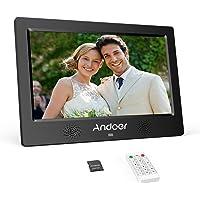 Andoer Cadres Photo Numériques TFT-LED 10.1Pouce Cadre Numériques en Alliage d'aluminium 1024x600 HD LCD Haute résolution avec 8 GB Carte mémoire avec télécommande (10.1-Noir)