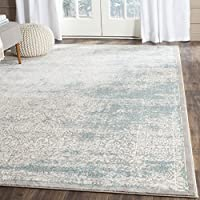 Safavieh Passion Collection PAS401B Vintage Medallion Watercolor Turquoise and Ivory Distressed Area Rug (4 x 57)