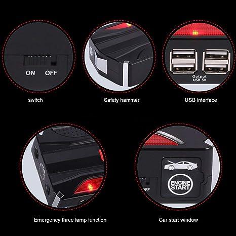 Sairis Multi-funzione Jump Starter Portatile 68800mAh 4 USB Alimentazione auto Batteria ricaricabile Batteria ad alta potenza Accessorio-nero