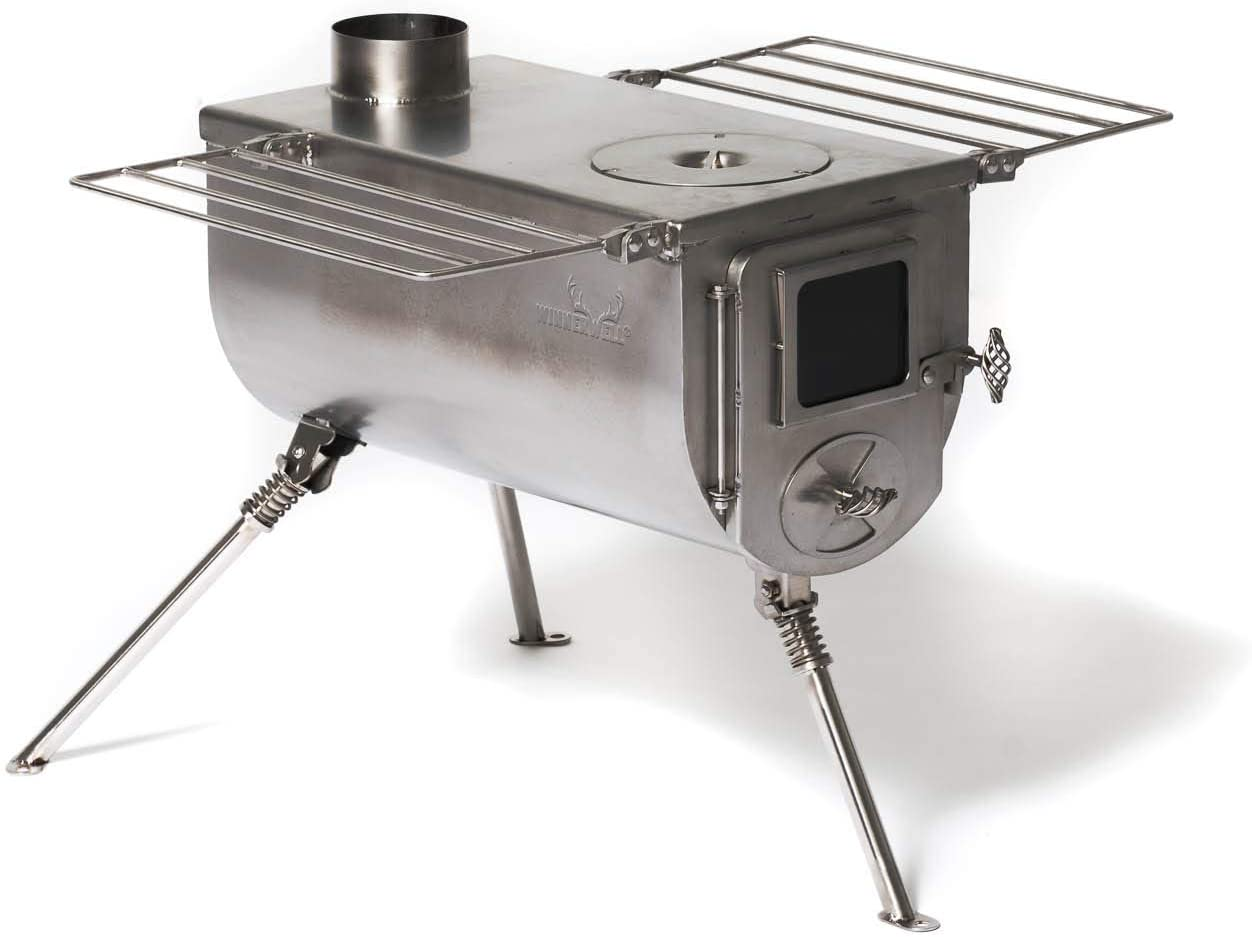 Winnerwell Woodlander Large Tent Stove Portable Wood Burning Stove for Tents, Shelters, and Camping 1500 Cubic Inch Firebox Precision Stainless Steel Construction Includes Chimney Pipe