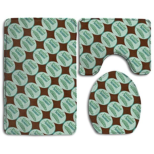 Palm Sunday Set (Palm Sunday Comfort Bathroom Rugs Set Super Absorbent Toilet Mat Set Mildew Lid Toilet Cover And Bath Mat)