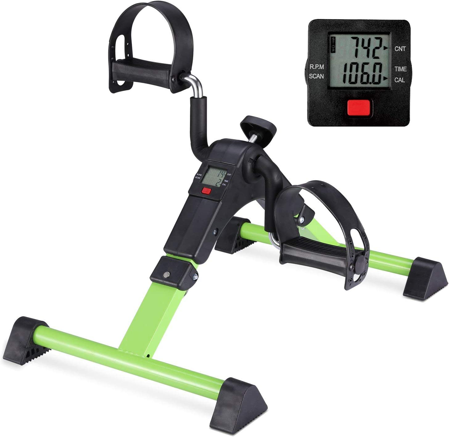 Pedal Exerciser Mini Desk Cycle With Lcd Monitor Foldable Black Green Exercise Bikes Amazon Canada