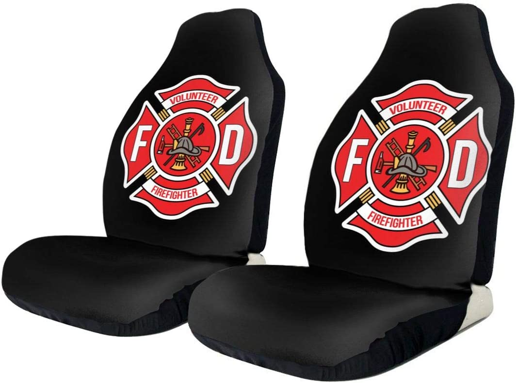 Laxoinh Volunteer Firefighter Universal Car Seat Covers Front Seats Protectors for Car Truck /& SUV