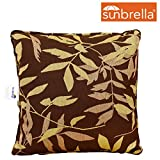Lazy Daze Hammocks Sunbrella Fabric Throw Pillow for Outdoor Indoor, All Weather and Fade Resistant, 13.4 Inch Long x 13.4 Inch Wide, Brown Leaves