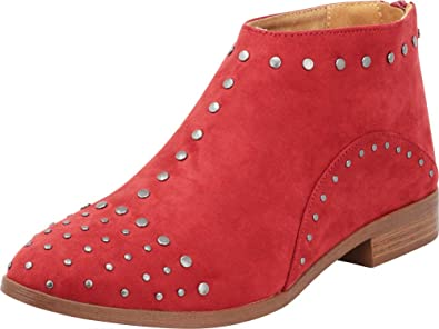 397ad8e39c9c8 Cambridge Select Women's Studded Chunky Low Heel Ankle Bootie