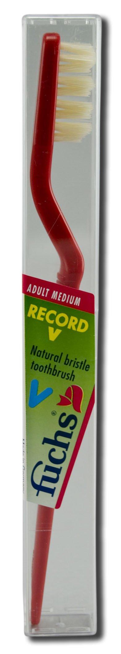 Fuchs: Pure Natural Bristle Record V Adult Medium Toothbrush, 1 ct (5 pack)