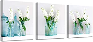"""Flower Picture Canvas Art Print: White Floral in Table Vase Artwork Painting for Livingroom (16"""" x 16"""" x 3 Panels)"""
