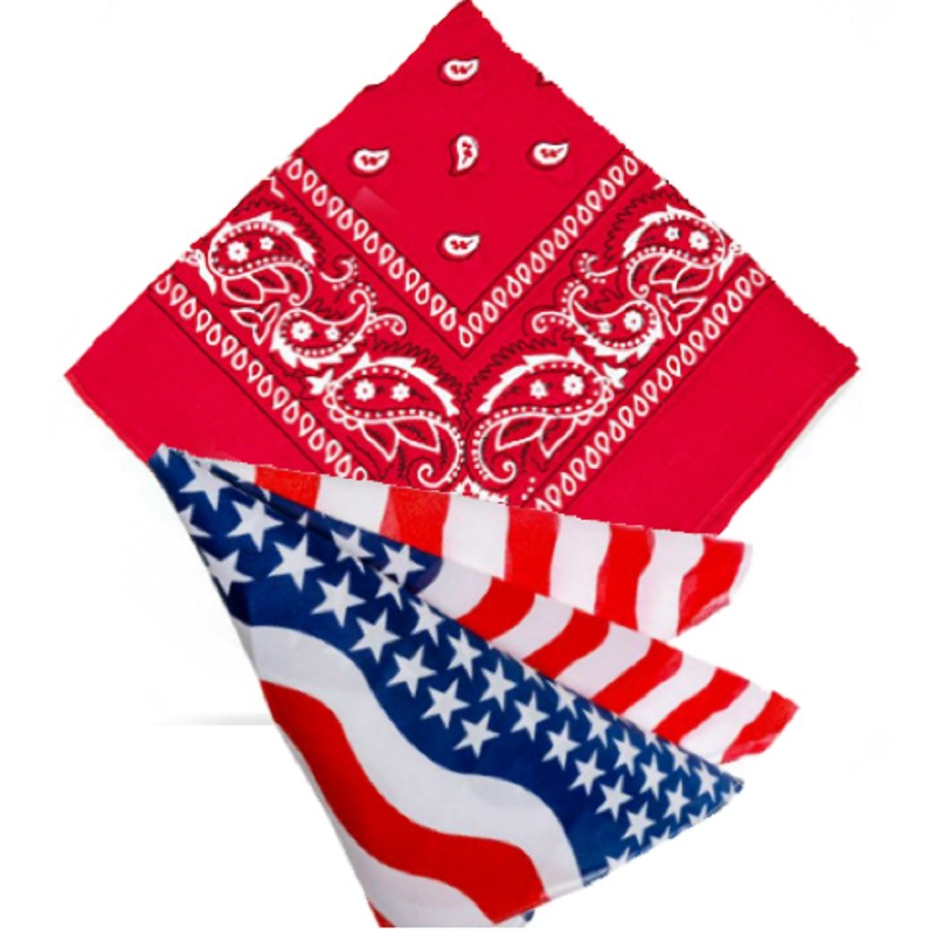 Pack of 2 Red & USA Flag Paisley Bandanas for Men, Women & Kids Neck scarf Handkerchief Head tie kerchief Neck Tie hankie shawl veil Neckerchief babushka bandannas novelty wear