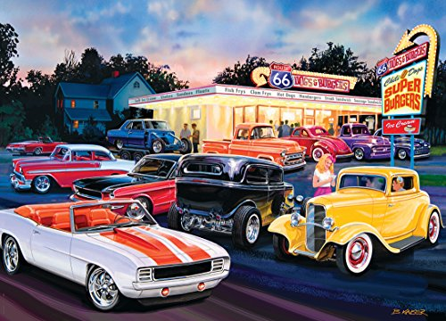 MasterPieces Cruisin' Route 66 Jigsaw Puzzle, Dogs & Burgers, Featuring Art by Bruce Kaiser, 1000 Pieces
