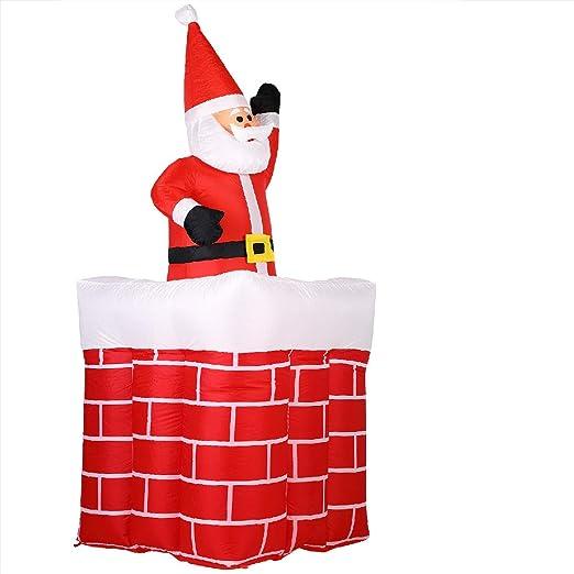 Monzana Papá Noel en chimenea inflable luces navidad decoración exterior y interior 130-178 cm rojo blanco iluminación