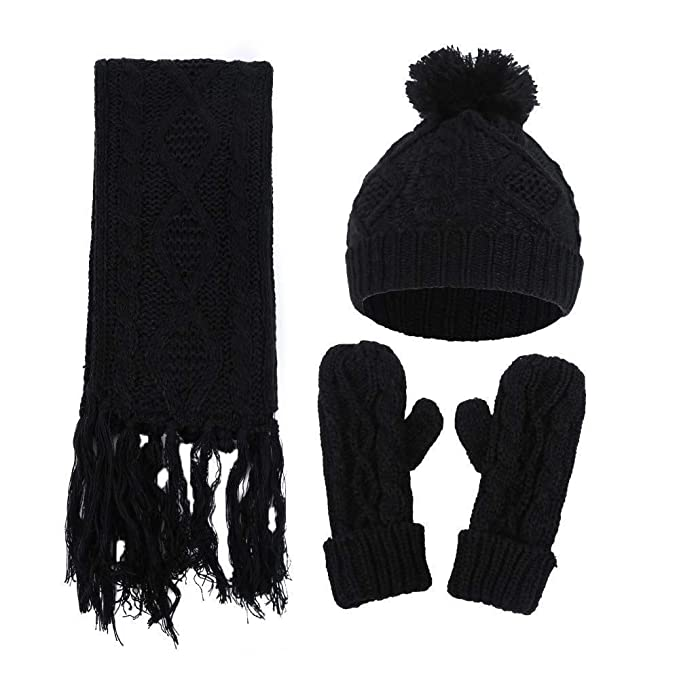 Women Knitted Caps+Scarf+Gloves Suit Three Piece Suit Slim Fit Men Outdoor  Wear 52cf9b76126