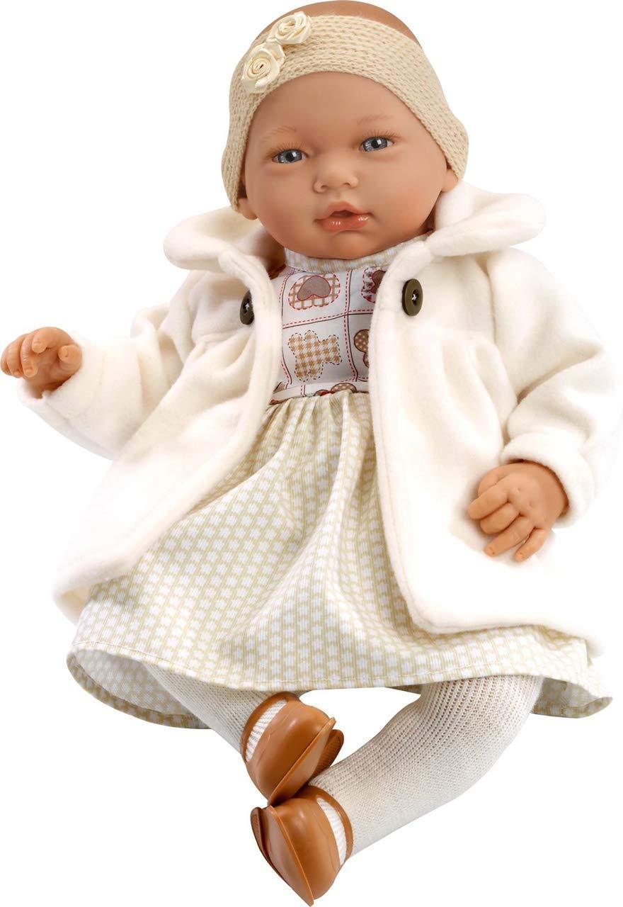 Munecas Guca 457 Nadia Baby Puppe in Beige Kleid mit Fell und Diadem, 46 cm