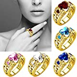 #9: Clearance Silver Natural Heart Shape Ruby Gemstones Birthstone Bride Wedding Engagement Ring
