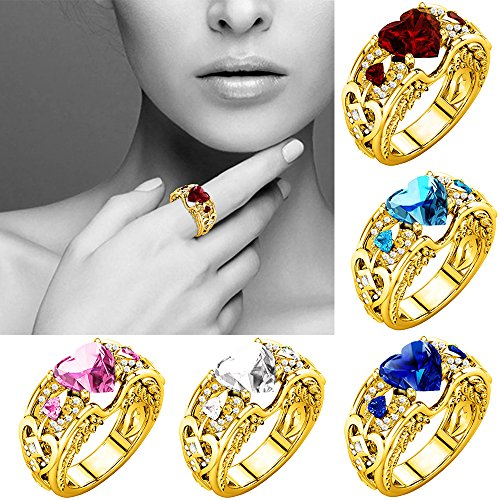 [해외]클리어런스 실버 천연 하트 모양 루비 보석 Birthstone Bride 웨딩 약혼 반지/Clearance Silver Natural Heart Shape Ruby Gemstones Birthstone Bride Wedding Engagement Ring