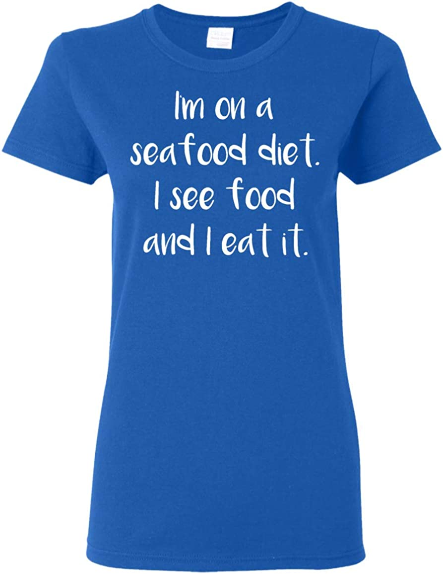I/'M ON A SEAFOOD DIET FUNNY PRINTED MENS T SHIRT LOVE FOOD EAT NOVELTY GIFT TEE