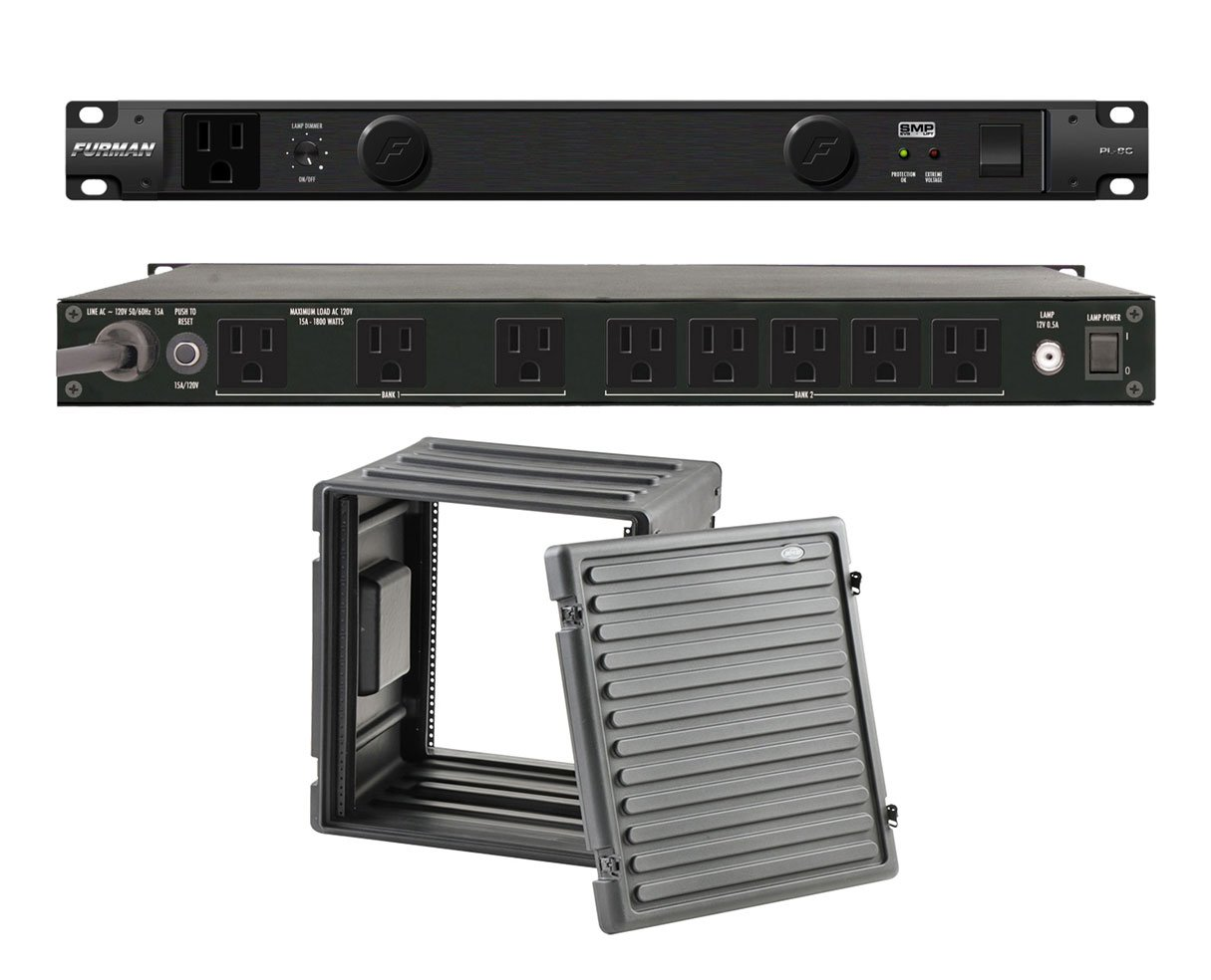 Furman PL-8 C Rack Mount Power Conditioner + SKB 1SKB-R12U Roto Molded 12U Rack