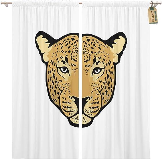Golee Window Curtain Face Leopard Big Cat Africa Animal Black Danger Feline Home Decor Pocket Drapes 2 Panels Curtain 104 x 96 inches