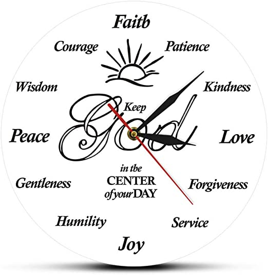 Amazon Com Fyluck Put God First Inspirational Quotes Christian Wall Clock Religious Family Clock Jesus Bible Home Decoration God Clock Wall Watch Home Kitchen