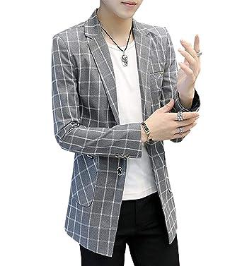 a353df896db148 PuHao (プハオ) メンズ ジャケット 春 秋 スリム テーラード ジャケット チェック柄 スーツジャケットスーツ