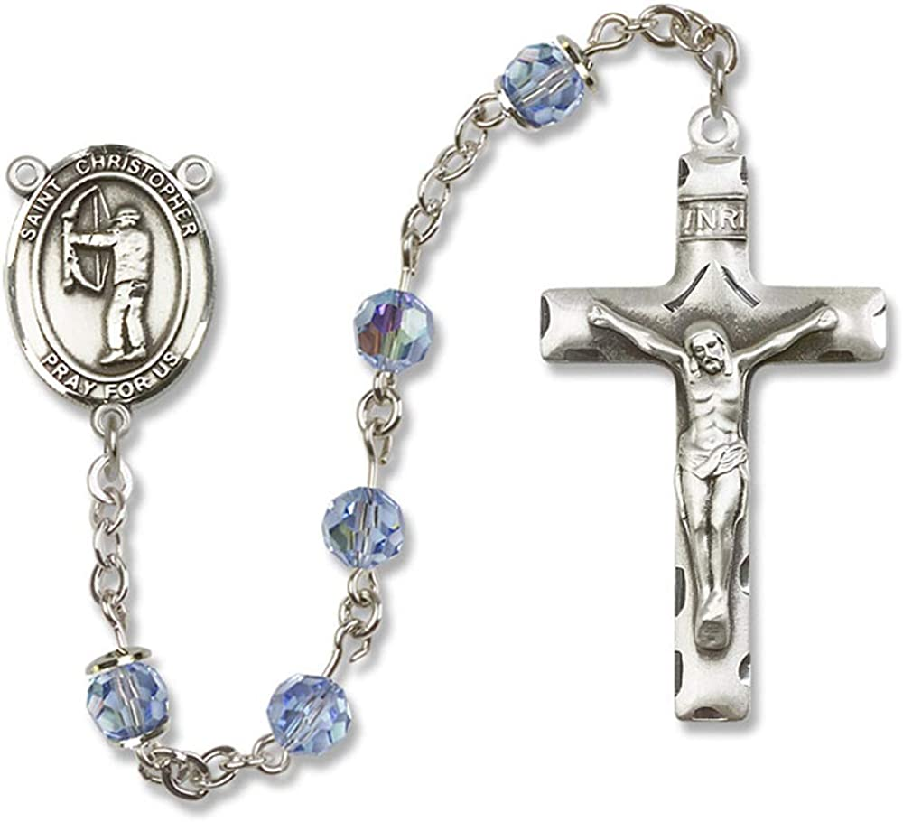 Austrian Tin Cut Aurora Borealis Beads 6mm Swarovski Christopher//Archery Center is the Patron Saint of Travelers//Motorist All Sterling Silver Rosary with Light Sapphire St