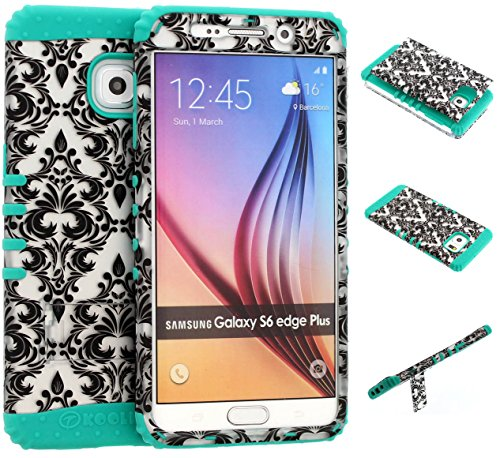 Galaxy S6 Edge Plus Case, Wireless Fones TM Kickstand Tough Armor Cover White Damask on Over Teal Skin for Galaxy S6 Edge Plus (Koolkase Samsung Galaxy S4 Case)