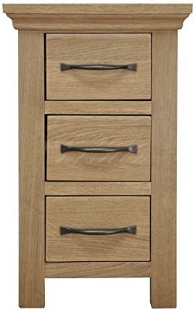 competitive price 40bee 969f3 Homeward Bound Interiors London Light Oak Narrow Bedside Cabinet/Solid Oak  3 Drawer Bedside Table/Oiled Finish