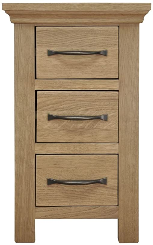 London Light Oak Narrow Bedside Cabinet / Solid Oak 3 Drawer Bedside Table  / Oiled Finish