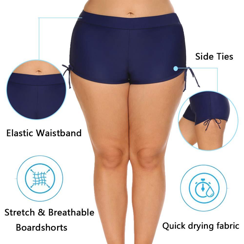 INVOLAND Womens Plus Size Swim Shorts Boardshorts Swimwear Tankini Shorts Bikini Swim Bottom