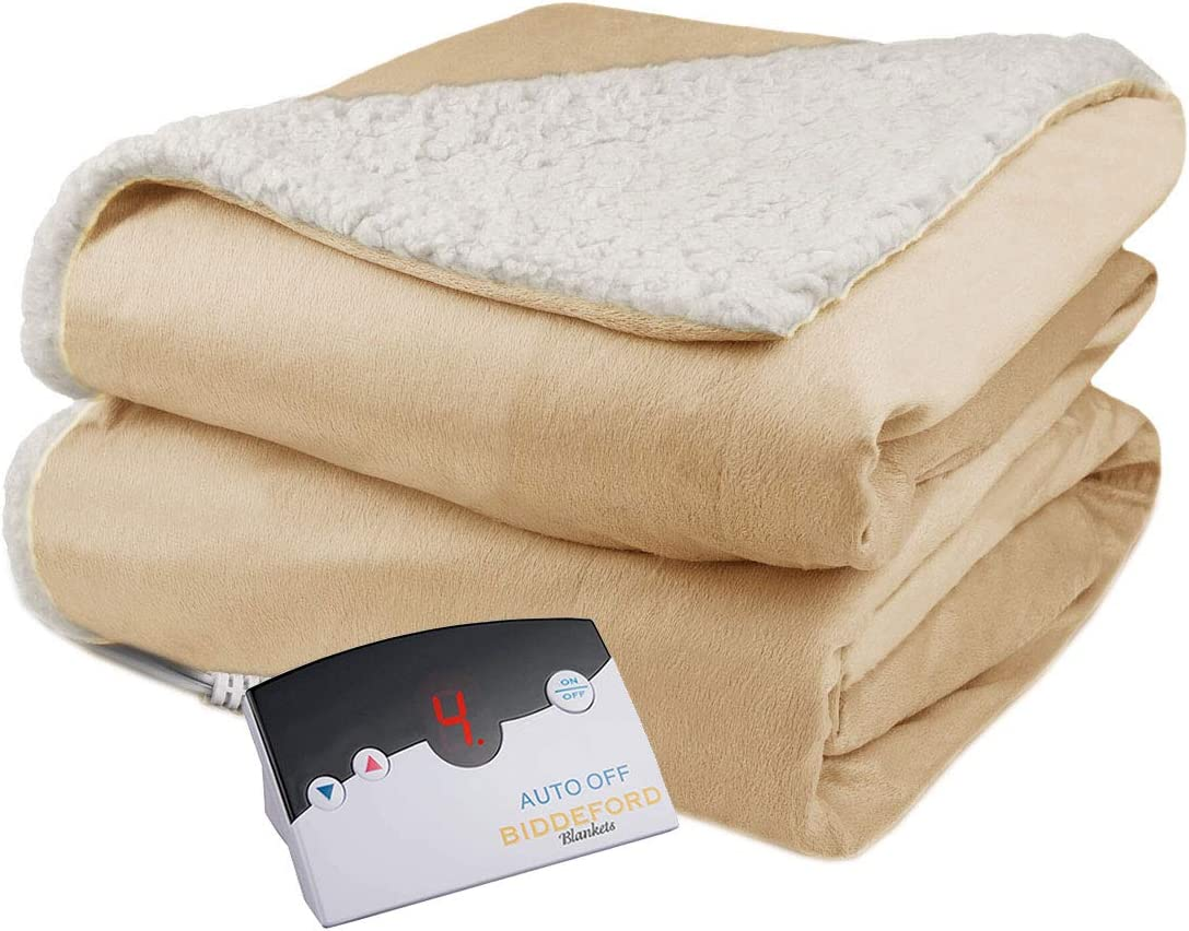 Biddeford Velour Sherpa Electric Heated Warming Blanket Twin Linen Washable Auto Shut Off 10 Heat Settings