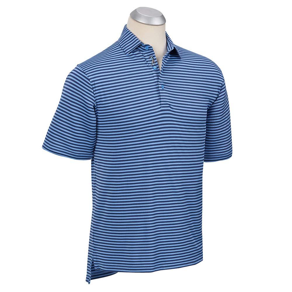 ボビージョーンズ XH2O フィードストライプピケ半袖ゴルフポロシャツ 2018年 Medium Sky Blue/Summer B07D7K2PZY
