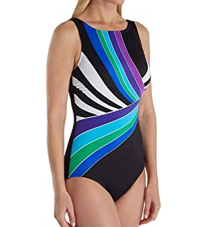 7ee9f7eaf66ca Reebok Women's High Neck One Piece Swimsuit at Amazon Women's ...