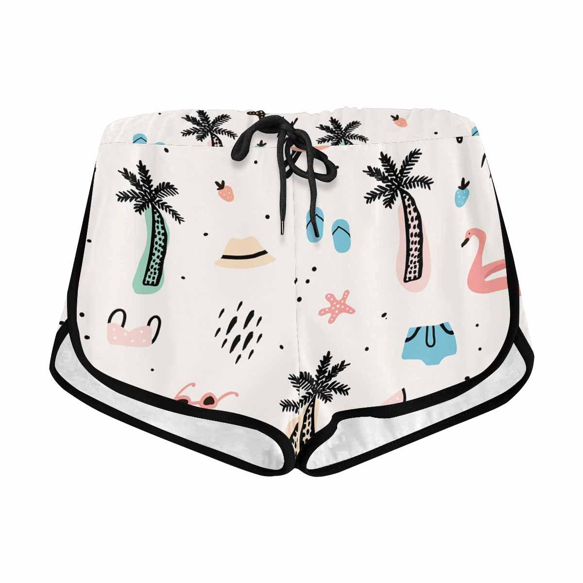 InterestPrint Women's Palm Tree Bikini Hat Sunglasses Summer Casual Shorts S