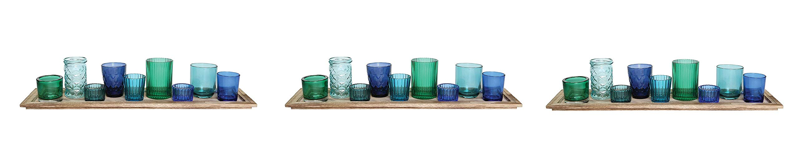 Creative Co-op DA5406 Wood Tray with 9 Blue & Green Glass Votive Holders (Pack of 3)