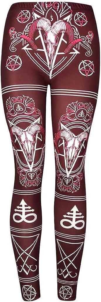 Bluestercool Leggings des Femmes Vintage Chic Gothique Imprim/é Pantalon Longue Taille Haute Leggings pour Yoga Fitness Gym Jogging