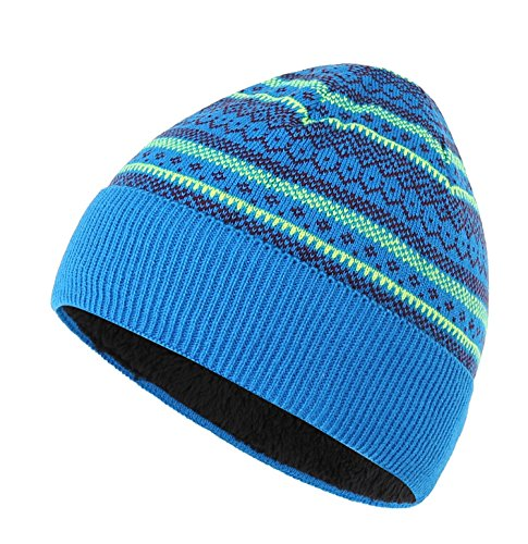 Connectyle Boys Girls Knit Kids Hat Sherpa Lined Beanie Hat Warm Winter Hats Print Cuff Beanies Cap, Blue, Large (Beanie Lined Sherpa)