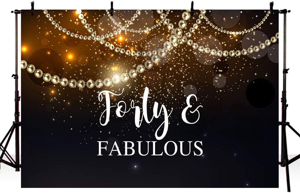 Fabulous 40th Birthday Celebration 6.5x6.5ft Polyester Photography Background Luxurious Golden Glitters Decors Edge Black Backdrop Birthday Party Company Opening Wedding Anniversary Shoot Studio