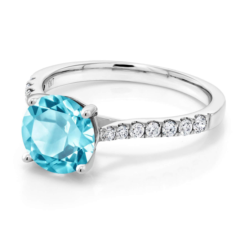 Gem Stone King 2.27 Ct Round Swiss Blue Topaz G-H Lab Grown Diamond 10K White Gold Ring