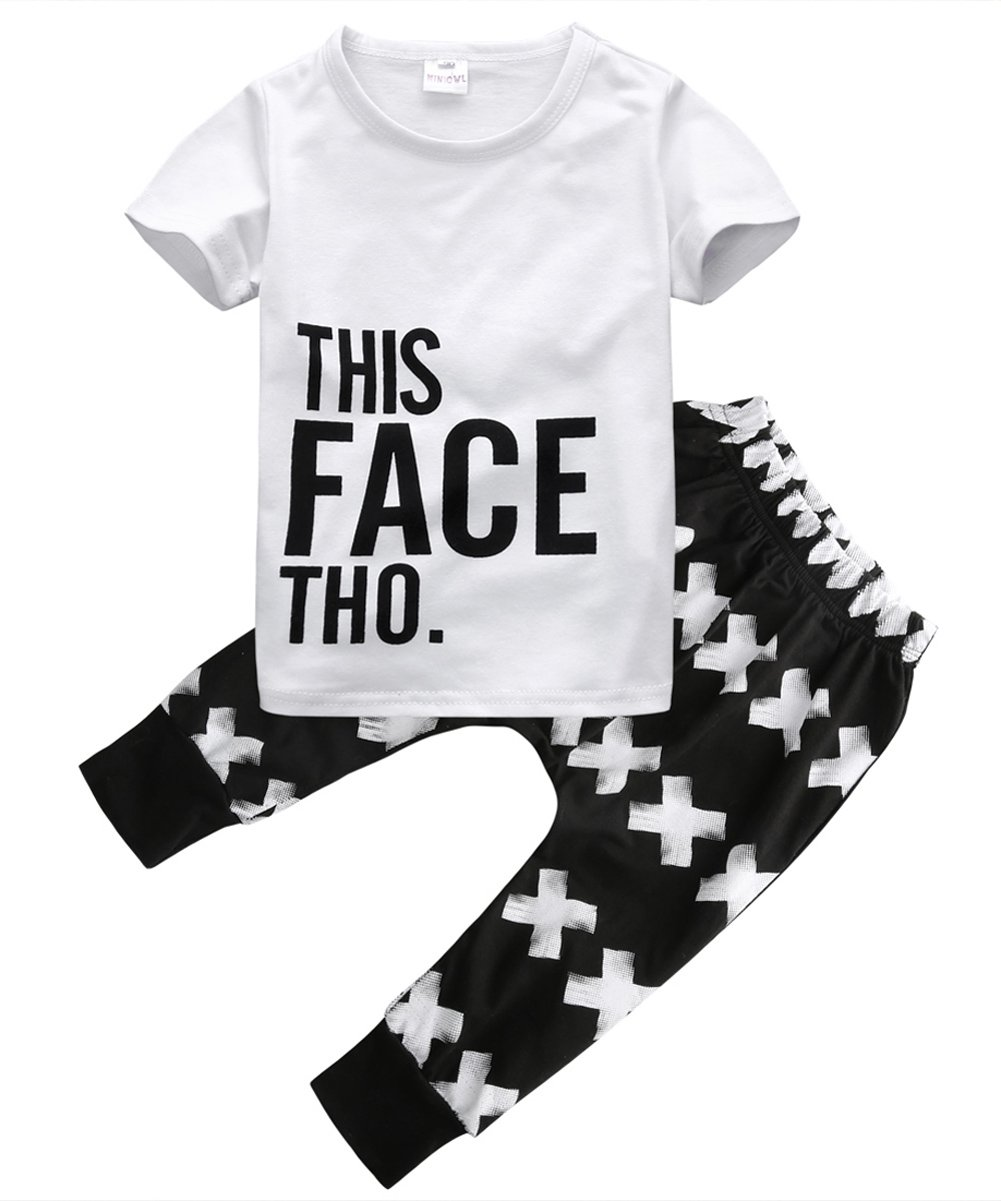 Little Boys Short Sleeve Letters Print T-shirt and Cross Pants Outfit (120(4-5Y))