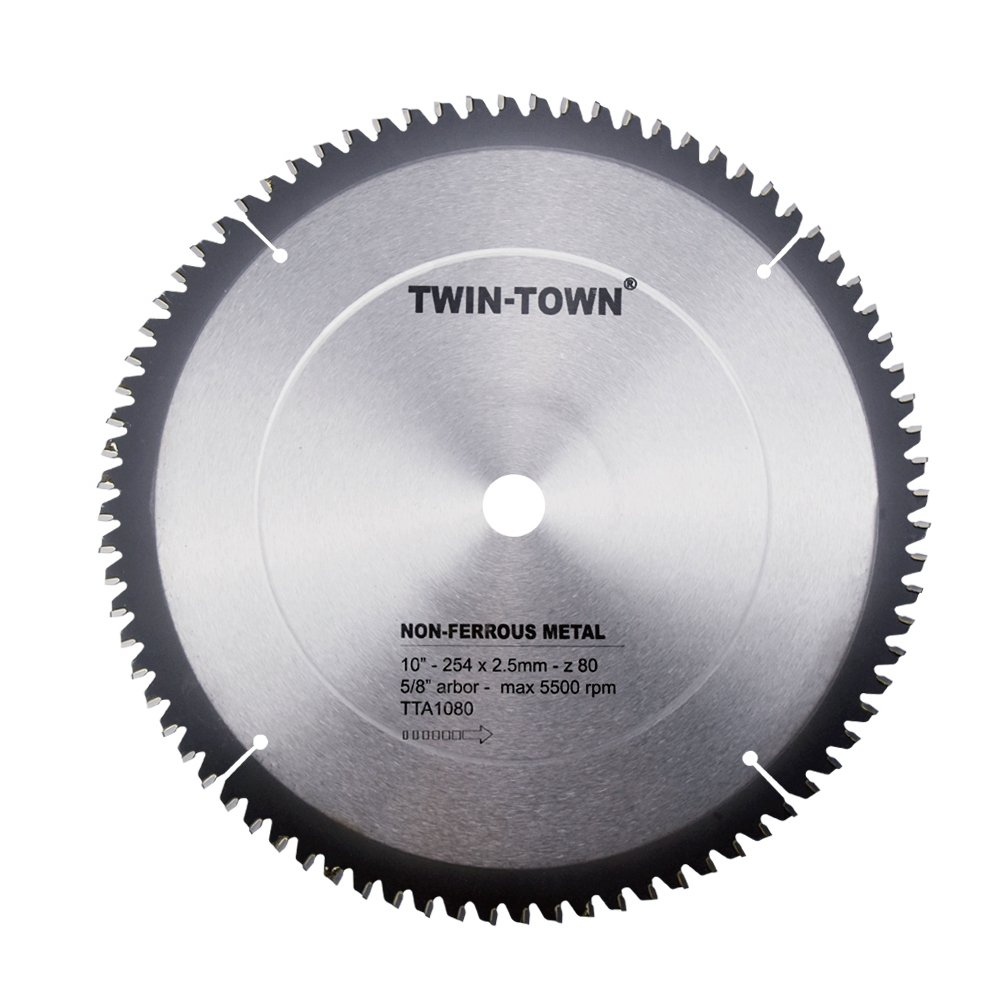 TWIN-TOWN 10-Inch 80 Tooth TCG Aluminum and Non-Ferrous Metal Saw Blade with 5/8-Inch Arbor