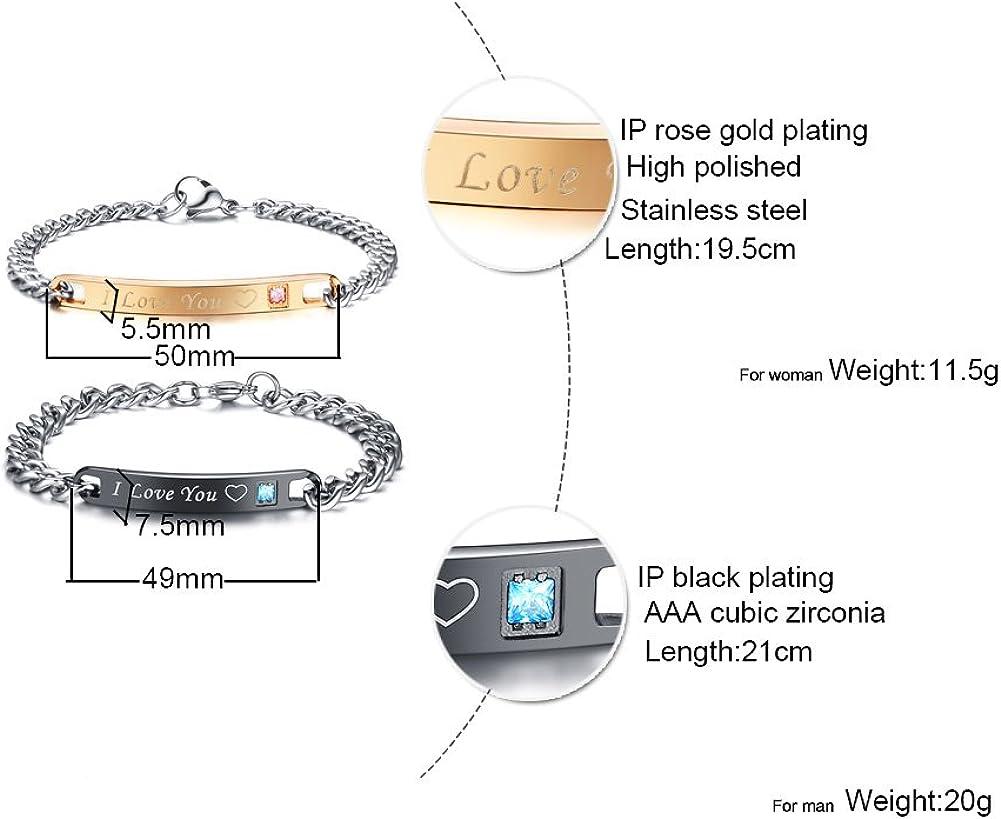 MPRAINBOW Custom Stainless Steel Name Tab ID Tag Single Zircon Adjustable Bracelet Valentines Gift