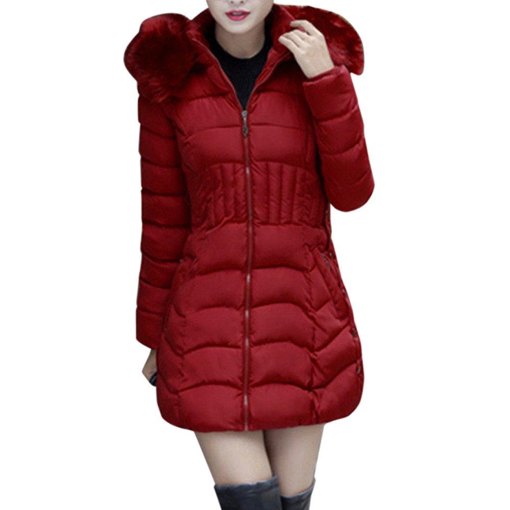 Sumen Women Down Winter Jacket Long Coat Parka Overcoat Hooded Casual Trench