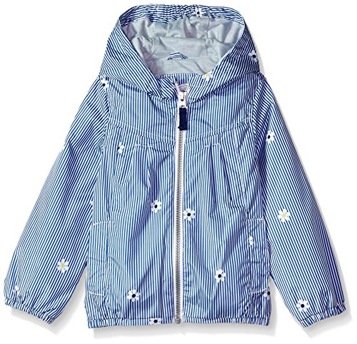 Zip Front Windbreaker - Carter's Toddler Girls' Zip Front Hooded Printed Windbreaker, Pinstripe Daisy, 3T