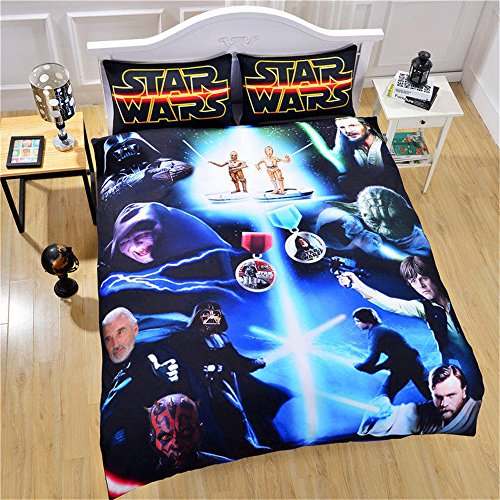 Luxury Soft Brushed 1500 Series Microfiber Duvet Cover Set, 3D Print Star Wars Pattern Hotel Quality & Hypoallergenic with Zipper Closure & Matching Shams (Duvet Cover Series)