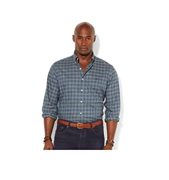 Polo Ralph Lauren Classic Fit Plaid Twill Shirt - Dark Green (XL)